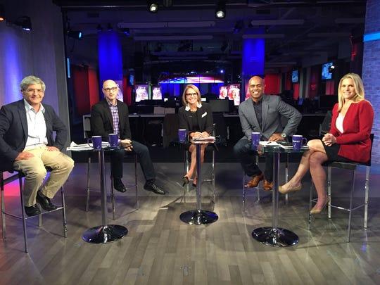 Michael Isikoff, Matt Bai, Katie Couric, Jamal Simmons and Alice Stewart from Yahoo News set.