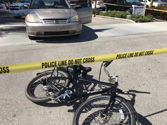 Marco Island Police Department officer George Guyer was struck by a car while riding his bike on Tuesday, Nov. 8, 2016. Police said Guyer was released from Physicians Regional hospital early Tuesday afternoon with minor injuries.