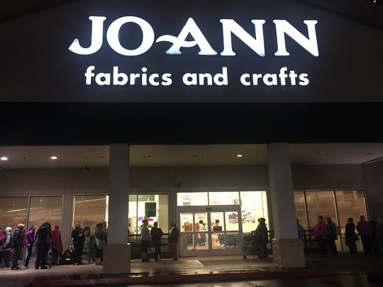 A line forms outside Jo-Anns on Lancaster.
