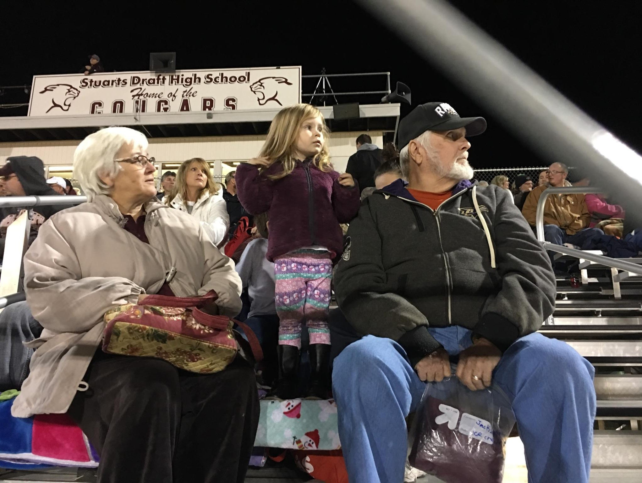 Fans await the start of the Stuarts Draft playoff game Friday night, Nov. 25.