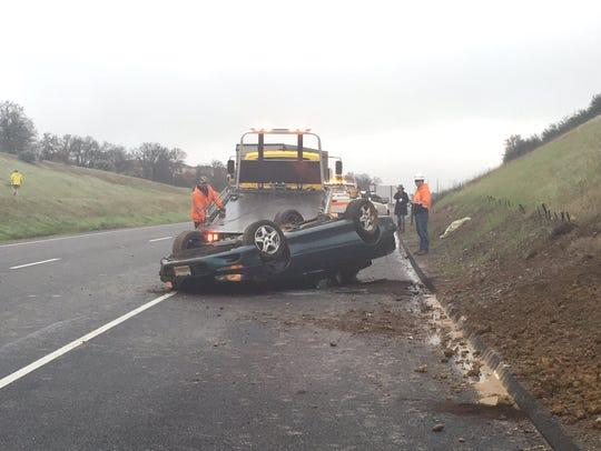 A traffic crash slowed traffic Friday on Interstate