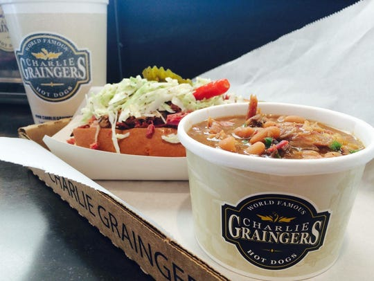 A sandwich and soup from Charlie Graingers.