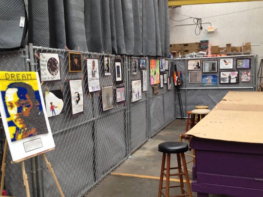 Martin Luther King, Jr., Day contest submissions line the walls of the Suzanne Haskew Arts Center in Milford last year.