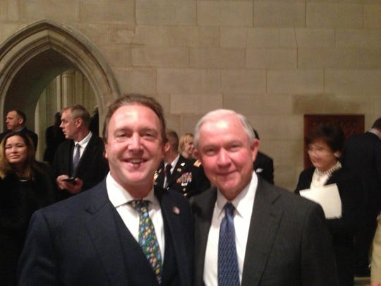 Tim Houseal  of Delaware pictured with Donald Trump's choice for U.S. Attorney General, Sen. Jeff Sessions (R-Ala.) at Friday's Freedom Ball in Washington D.C.