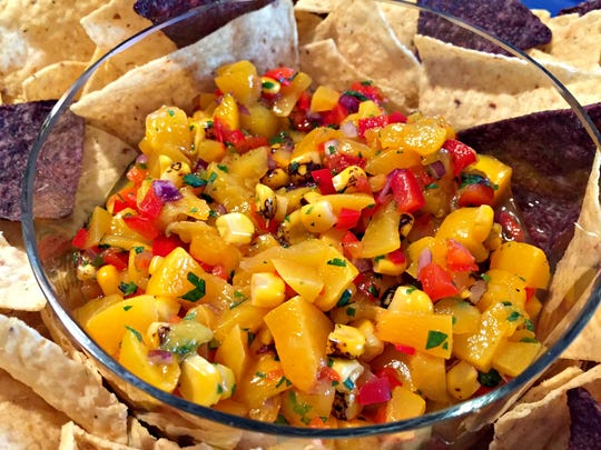 Georgia peach salsa is easy to make and fits the bill for your Super Bowl party.
