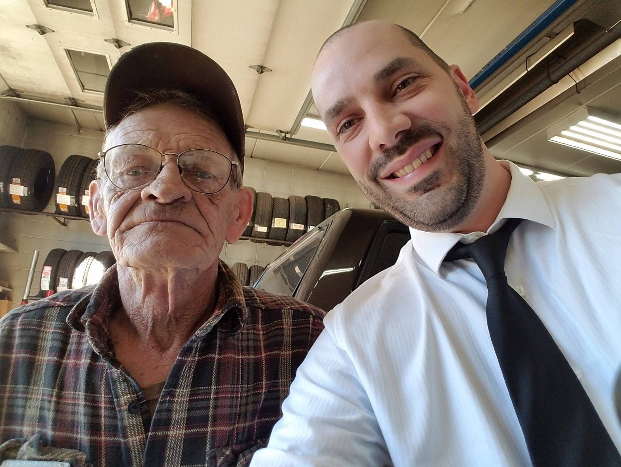 Small-town mechanic offers own truck to man stranded on way to funeral.
