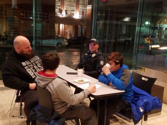 Marion police officers and schoolchildren get together
