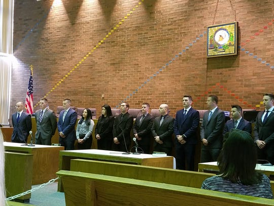 The most recent police recruit class had three police officers, unlike the 13 pictured during a 2008 swearing in ceremony.
