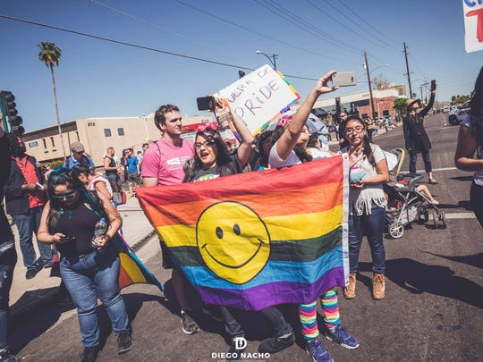 Members of Trans Queer Pueblo and their supporters
