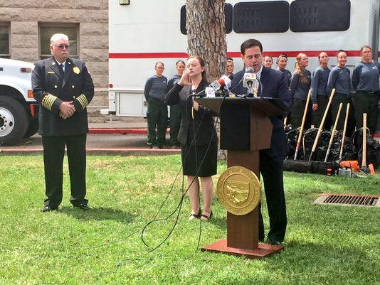 Gov. Doug Ducey speaks on potential dangers of wildfire season.