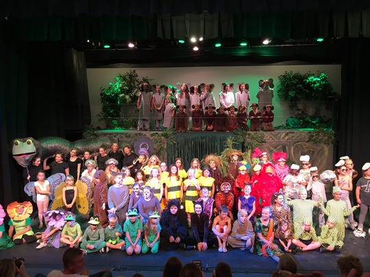 """Cast photo of Riverbank's summer camp 2016 production of """"Disney's The Jungle Book."""""""