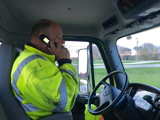 Kevin Paschen, driver for Crosby Heavy Duty Wrecker Service in Green Bay and manager of the freeway service team for Interstate 43 construction in Brown County, reports to work before heading out on Tuesday's route.