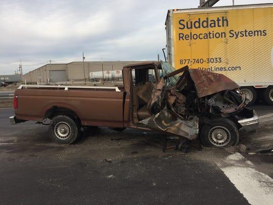 Elijah Hardin was a passenger in this truck when it struck a school bus on Jan. 31.