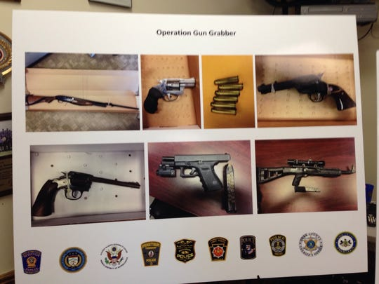 These are some of the weapons seized in early 2017 as part of Operation Gun Grabber, officials said. (Liz Evans Scolforo photo)