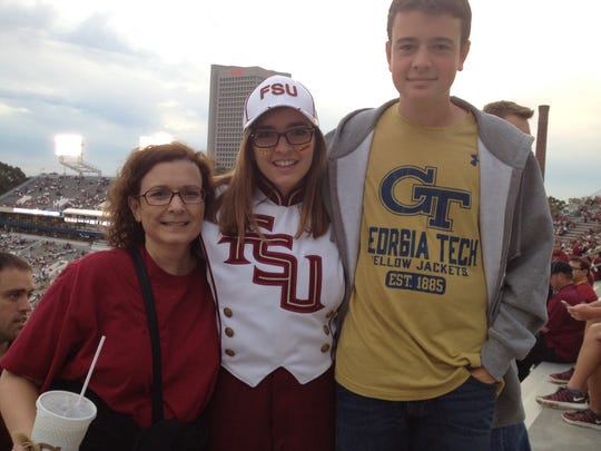 My mom and brother Scott joined me at the FSU vs. Georgia Tech game during the 2015 season. Scott is wearing a GT shirt because my dad, who died in 2007, went there.