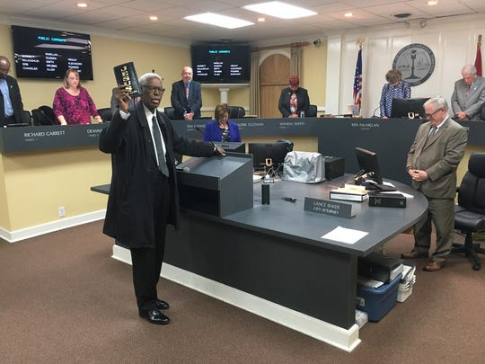The unifying moment of the evening for the Clarksville City Council came when invocation leader, Rev. Jimmy Terry, was honored by Mayor Kim McMillan and Mayor Pro Tem Valerie Guzman with a proclamation.