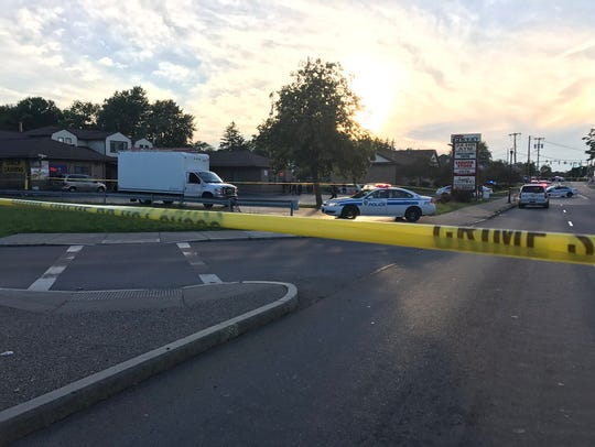 The scene at Chester's parking lot after a shooting