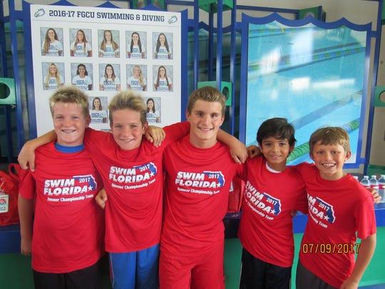 Swim Cape Coral's Evan Baker, Brent Baker, Jacob Bilancione,