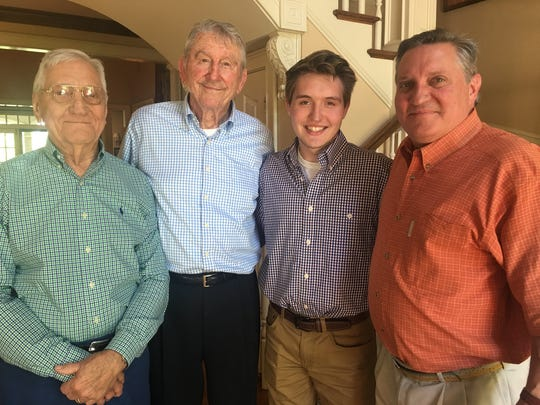 Former governor Winfield Dunn, 90, recently got a visit from three Knoxvillians at his Nashville home. Retired attorney Jack Draper, left, was active in Dunn's 1970 successful campaign for governor. With him and Dunn are his son and current attorney David Draper, right, and grandson Jack Draper.