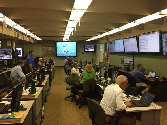 Local and state agencies gathered at the Greenville County Emergency Operations Center located in the basement of Greenville City Hall to monitor events during the solar eclipse on Aug. 21, 2017.