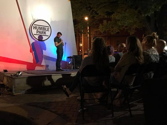 Philadelphia-based comedian Ryan Shaner performs at a new DIY art space in Wilmington nicknamed Humble Park.