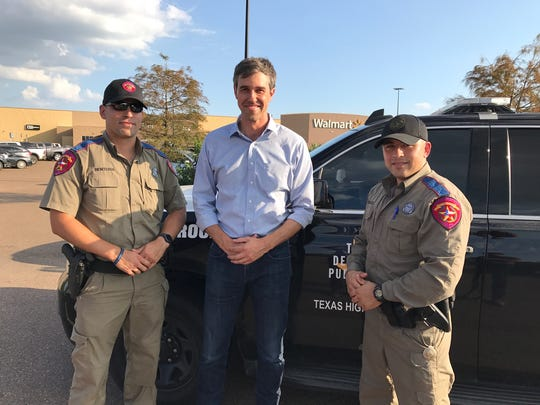 U.S. Rep. Beto O'Rourke, D-El Paso, on Wednesday meets Department of Public Safety Troopers Ivan Renteria, left, and Carlos F. Gonzalez of El Paso in Victoria, Texas, where they were helping in Hurricane Harvey relief efforts. O'Rourke said the El Paso troopers were among the first to volunteer for relief efforts as the storm hit.