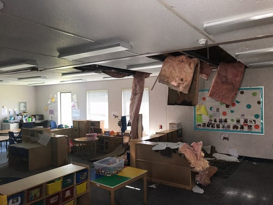 A portable campus at Lehigh Elementary School had ceiling