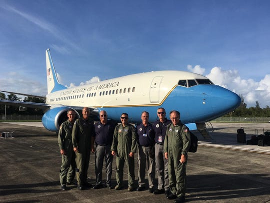 Maj. Gary Fiser, third from right, is pictured with other team members involved in shooting aerial photographs of Hurricane Irma damage to Caribbean Islands.