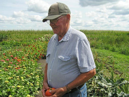 Dennis Stelter, who donated about 1,000 pounds of vegetables