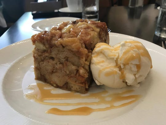 The Caramel Apple Bread Pudding with vanilla ice cream