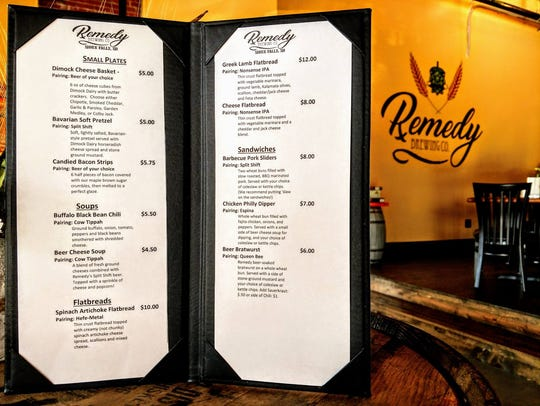 The newly expanded menu at Remedy Brewing Co. in downtown