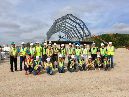 Manitowoc Lincoln High School and McKinley Academy students learn about the construction trades from Bayland Buildings, Inc., at the future Wisconsin Agricultural Education Center.