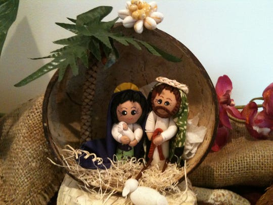 A nativity scene set in a coconute shell from Hawaii