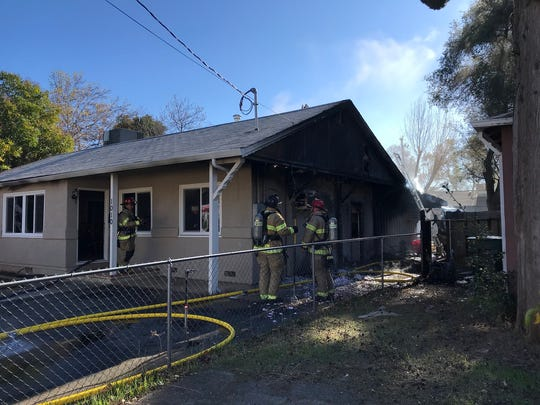 A fire burned a Second Street home Monday off Bechelli Lane in Redding.