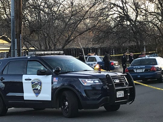 December 2017 file photo of Redding police officers on Wilson Avenue on the city's east side.