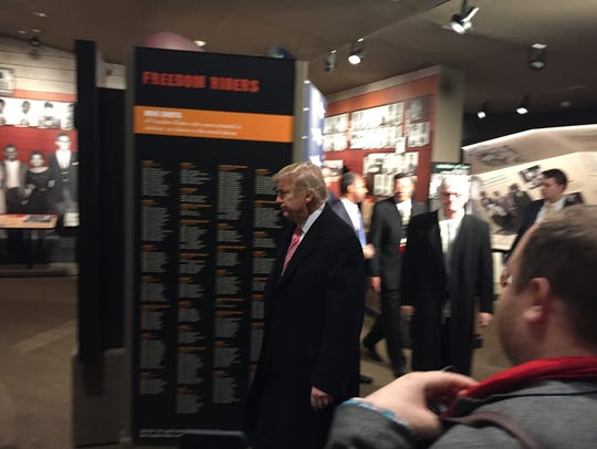 President Donald Trump tours the Mississippi Civil Rights Museum during its December opening before making scheduled remarks to a select crowd during his visit.