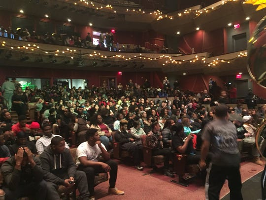 People packed an auditorium at Harrisburg's Whitaker