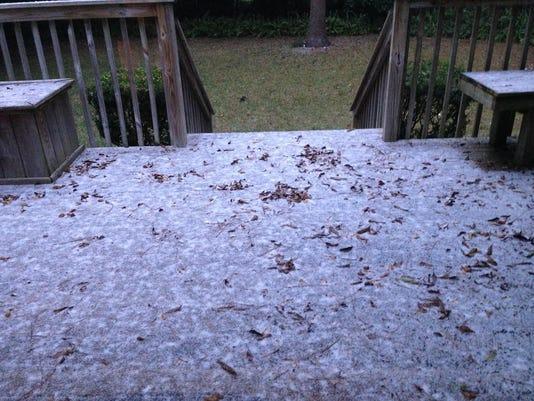 Snowy back deck
