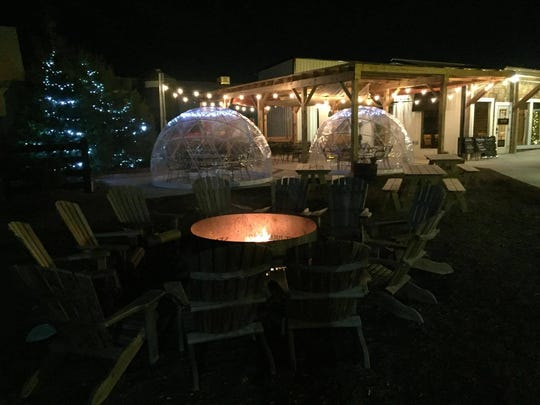 Igloos at Stable Craft Brewing, which allow for outdoor seating and enjoyment without the cold.