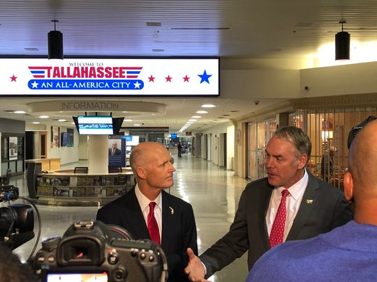 Gov. Rick Scott meets with House Department of the Interior Secretary Ryan Zinke on Jan. 9 to discuss offshore drilling in Florida.