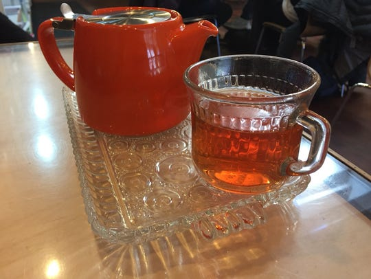 Blueberry rooibos tea at Prairie Lights Cafe on Jan.