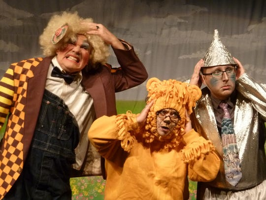 """The Scarecrow, Lion and Tin Man in the UW-Manitowoc Office of Continuing Education's production of """"The Wizard of Oz."""""""