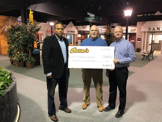 Rutter's donates $25,000 to Junior Achievement of South Central Pennsylvania in support of financial literacy, work readiness and entrepreneurship programming for area K-12 students.  Pictured from left; Derek Gaskin, Chief Customer Officer at Rutter's, Tom Russell, Junior Achievement of South Central PA President, and Todd Rutter, President, Rutter's Beverage Company. submitted photo