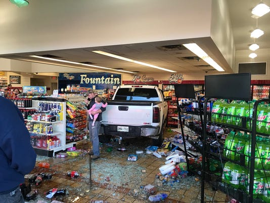 Pickup crashes into Weigel's