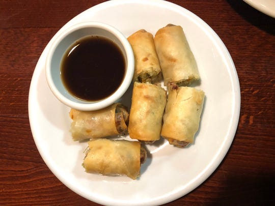 The crispy golden rolls ($6.95) at Vegan Kitchen are