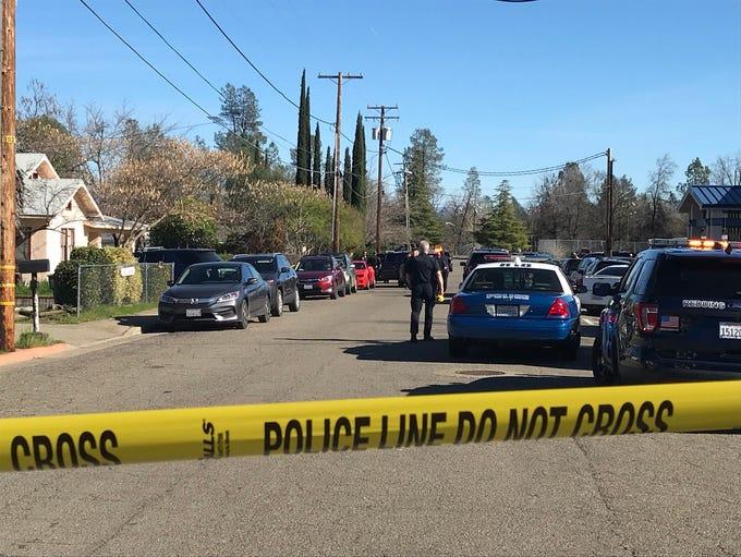 Redding police closed off Hiatt Drive on the city's