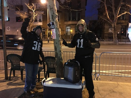 These fans got a spot along the Philadelphia Eagles