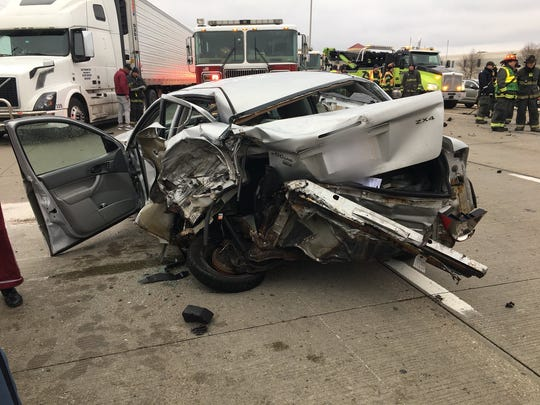 A crash officials say involved three semi-trucks and two cars closed southbound I-465 Sunday evening. One child and four adults were taken to the hospital.