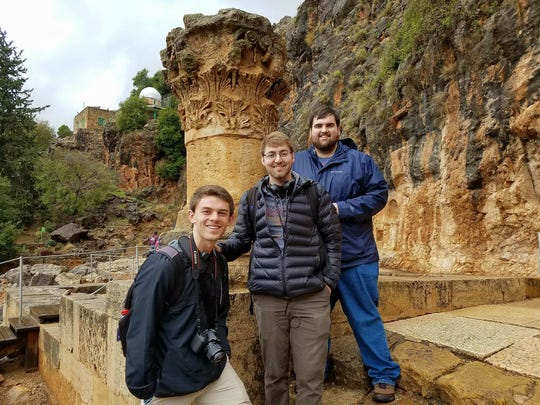 FHU students, from left: Richard Turner, Micah Hollamon and Brett Giselbach at the Pagan Temple in Caesarea Philippi.