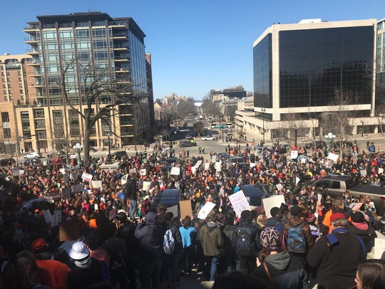 Students gather at the Wisconsin State Capitol as part